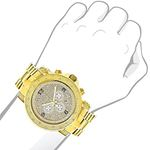 Luxurman Watch Mens Oversized Real Diamond Watch 0.75ct Yellow Gold Chronograph 3