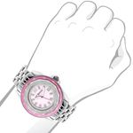 Ladies Real Diamond Watch 0.25ct Pink MOP Bezel Luxurman Interchangable Straps 3