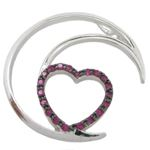 Half moon heart pink stone pendant SB66 37mm tall and 34mm wide 1