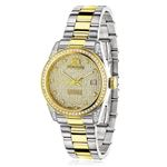Womens White Yellow Gold Plated Diamond Watch Two Tone Luxurman Tribeca 1.5ct 1