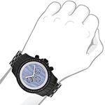 Luxurman Phantom Mens Black Genuine Diamond Watch 2.25ct Blue MOP Chronograph 3