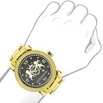 Phantom Mens Large Real Diamond Watch Yellow Gold Plated 0.12ct by Luxurman 3