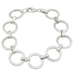 Sterling silver greek key round link bracelet SB104 7 inches long and 15mm wide 1