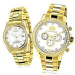 Matching His And Hers Watches: Yellow Gold Plated
