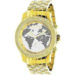 LUXURMAN White Black World Map Mens Diamond Watch