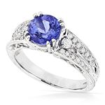 14K Natural Diamond Tanzanite Engagement Ring For