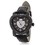 Luxurman Ladies Diamond Heart Watch 0.25ct Black MOP Paved in Sparkling Stones 1