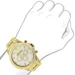 LUXURMAN ICED OUT MENS DIAMOND WATCH 3CT YELLOW GOLD PLATED LIBERTY 3