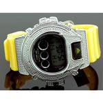 Ice Plus Mens Diamond Shock Style Watch White Case Yellow Band 1