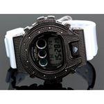 Ice Plus Mens Diamond Shock Style Watch Black Case White Band 1