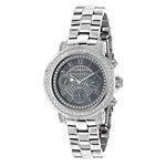 Luxurman Mens Genuine Diamond Watches: Plated Platinum Chronograph Watch 2ct 1