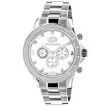 Luxurman Mens Real Diamond Watch 0.2ct White Gold Plated White MOP Liberty 1