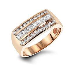 Luxurman Mens Round And Princess Cut Diamond Ring 14k Unique Wedding Band 1 3 Ctw