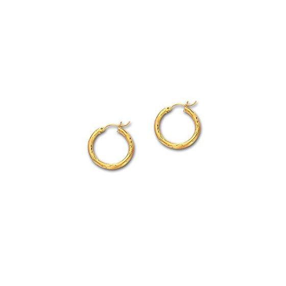 10K Yellow Gold Ladies Diamond Cut Hoop Earrings ZLT226