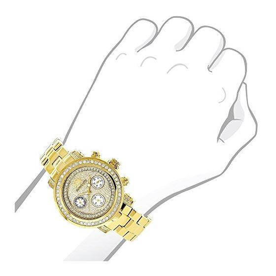 Luxurman Womens Real Diamond Yellow Gold Plated Montana Watch 2ct Extra Straps 3