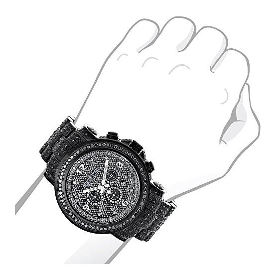 Fully Iced Out Oversized Genuine Black Diamond Mens Watch by Luxurman 4.25ct 3