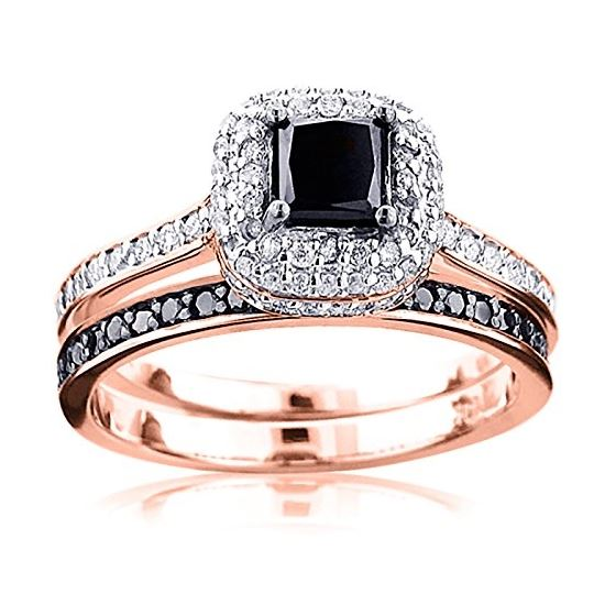 10K White Black 1.2 Ctw Diamonds Unique Bridal Eng