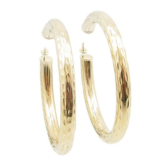 10k Yellow Gold earrings Mini diamond cut hoop AGBE45 1