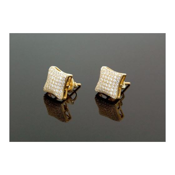 Sterling Silver Unisex Fashion Hand Set Stud Earrings ME0217b 1