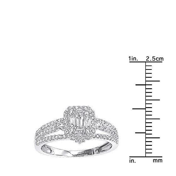 Ladies 14K Gold Affodbale Halo Baguette Diamond-3