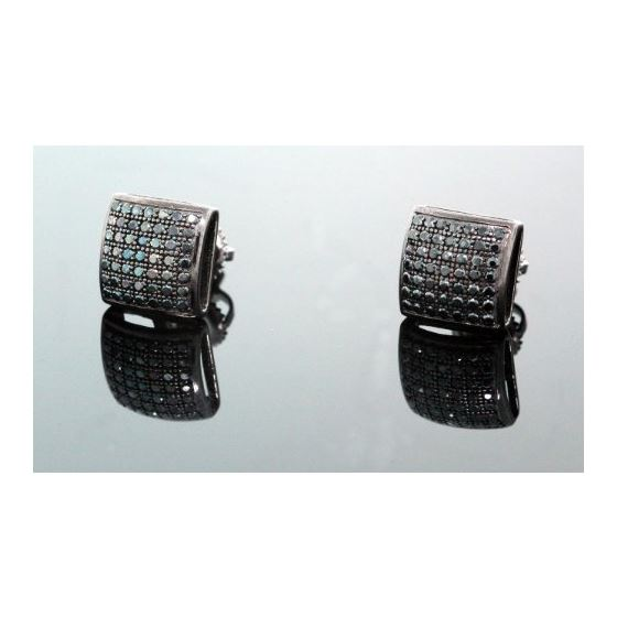 .925 Sterling Silver Black Square Black Onyx Crystal Micro Pave Unisex Mens Stud Earrings 9mm 1