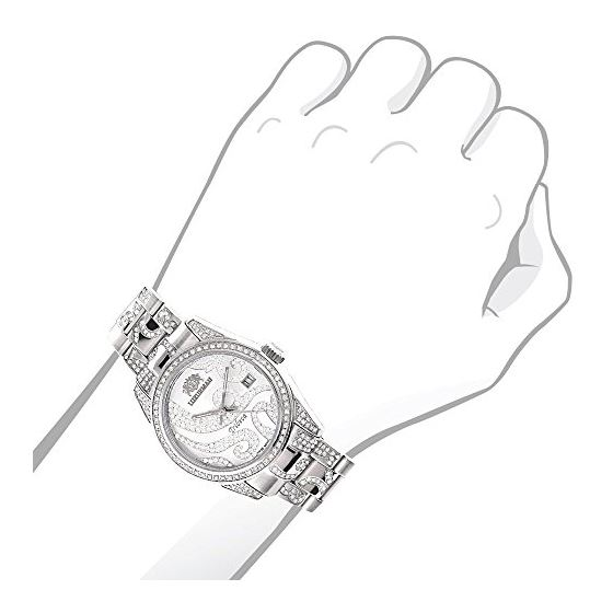 Tribeca Womens Real Diamond Bezel and Band Watch 3ct Platinum Plated by Luxurman 3