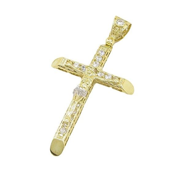 Mens 10k Yellow Gold Jesus cross with stones Pendant 1