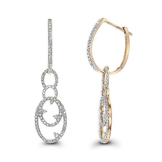 14K Ladies Natural 0.5 Ctw Diamond Drop Earrings (