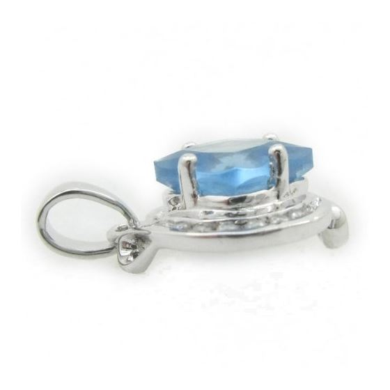Ladies .925 Italian Sterling Silver fancy pendant with blue stone Length - 20mm Width - 14mm 3