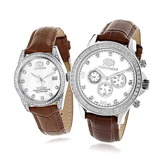 Matching His And Hers Watches White MOP Gold Plate