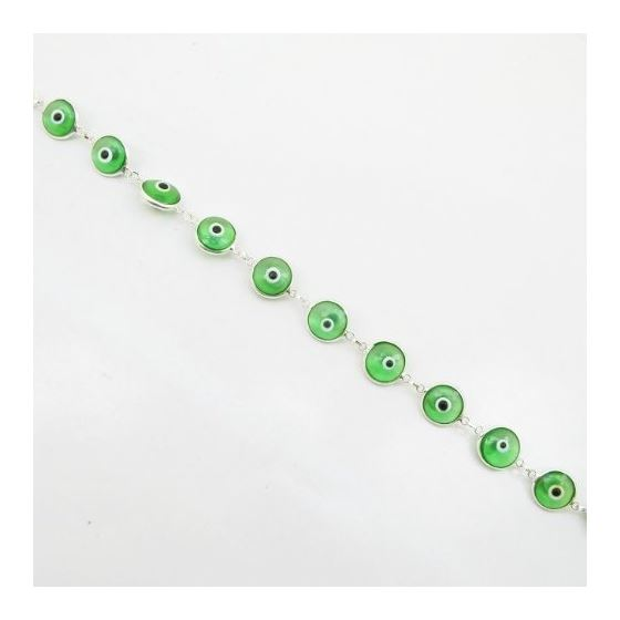 Womens Sterling silver Green evil eye br 84426 3