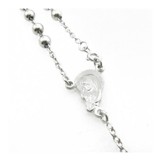Mens .925 Italian Sterling Silver white beaded rosary Length - 24 inches Width - 5mm 3