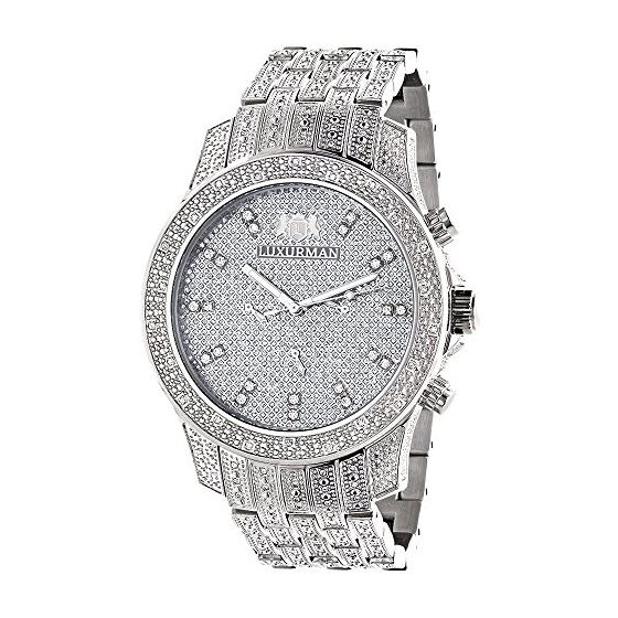 Iced Out Watches: Luxurman Mens Genuine Diamond Watch 1.25ct Heavy band 1