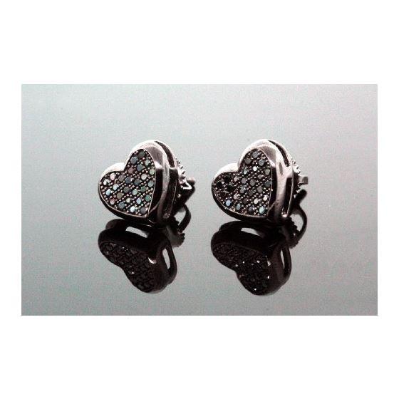 .925 Sterling Silver Black Heart Black Onyx Crystal Micro Pave Unisex Mens Stud Earrings 8mm 1