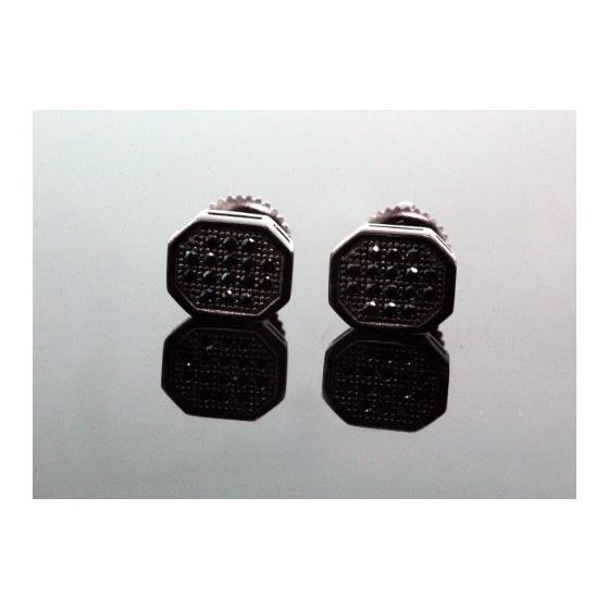 .925 Sterling Silver Black Octagon Black Onyx Crystal Micro Pave Unisex Mens Stud Earrings 8mm 1