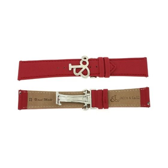 Jacob Co. Genuine Real Satin Red Band Strap 22MM F