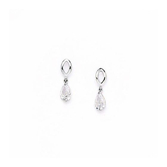 14K White Gold star oval drop shap with cz earrings screw back Size: Actual Image