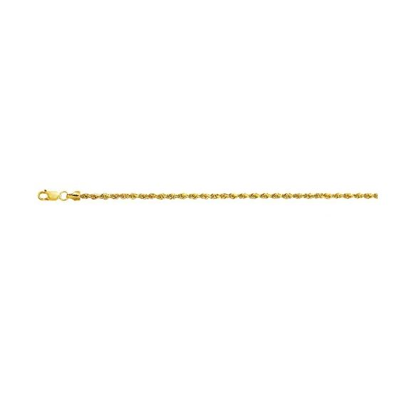 10K 18 inch long Yellow Gold 2.0mm wide Diamond Cut Hollow Sparkle Rope Chain with Lobster Clasp