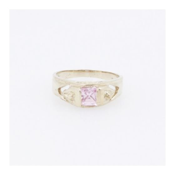 10k Yellow Gold Syntetic pink gemstone ring ajr23 Size: 3.25 3