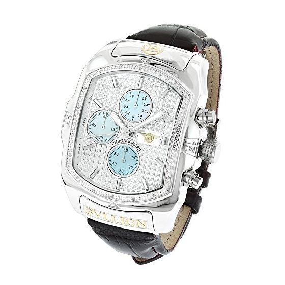 Large Watches: Luxurman Bullion Real Diamond Watch For Men 0.18ct Chronograph 1