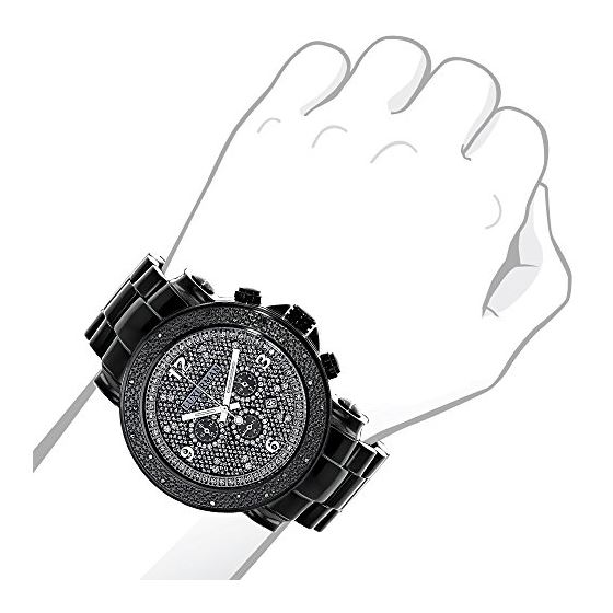 Mens Diamond Black Watch 0.25Ct Oversized Watch-3
