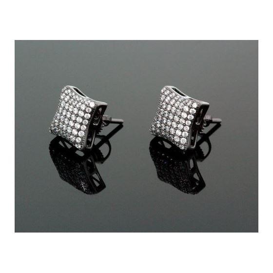 Sterling Silver Unisex Fashion Hand Set Stud Earrings ME0217e 1