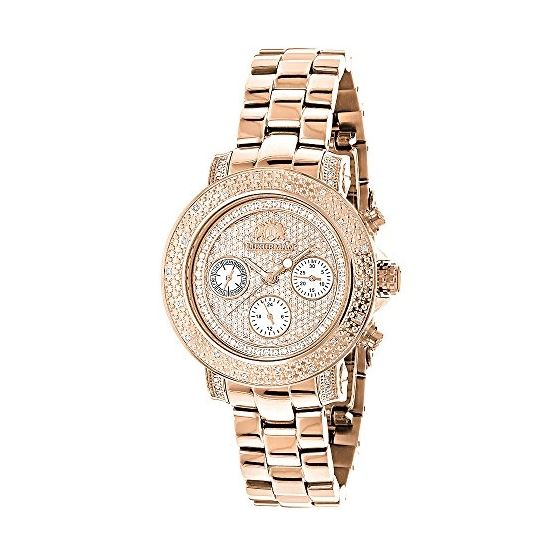 Oversized Ladies Diamond Watch Rose Gold Plated Sw