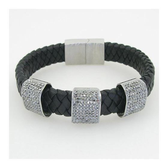 Womens genuine leather braided cuff crystal bracelet bangle fashion jewelry swag 1