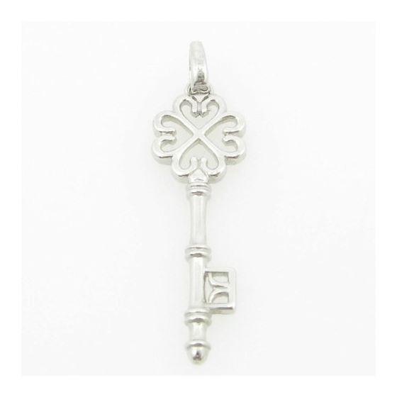 womens bp105 fancy key 14K white gold good luck charm pendant 1