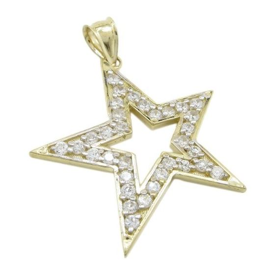 Mens 10k Yellow gold Outer star of david gold cz pendant GCHA35 1