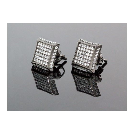 .925 Sterling Silver Black Square White Crystal Micro Pave Unisex Mens Stud Earrings 1