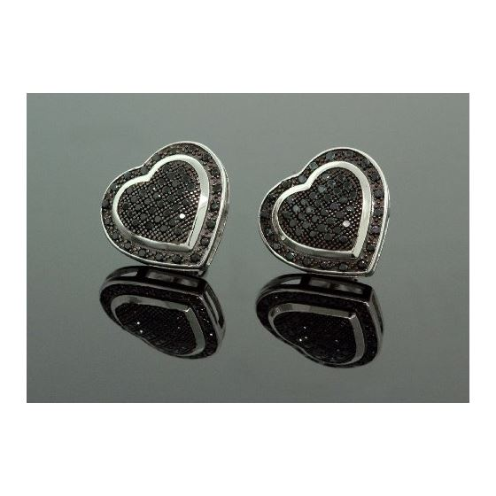 .925 Sterling Silver Black Heart Black Onyx Crystal Micro Pave Unisex Mens Stud Earrings 13mm 1