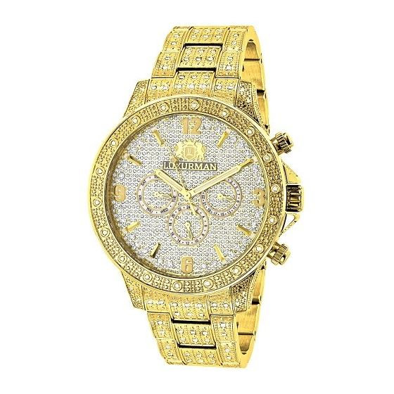 LUXURMAN Iced Out Mens Diamond Liberty Watch 1.25C