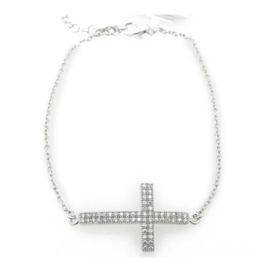 Sterling Silver Cross Charm Anklet 9 Inches